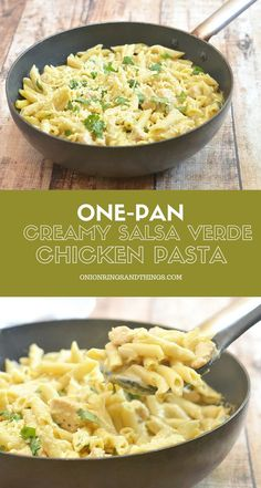 One-Pan Creamy Salsa Verde Chicken Pasta is creamy, cheesy, slightly spicy, and a must-try! It's quick and easy to make, requires few simple ingredients, and cooks in one pan!