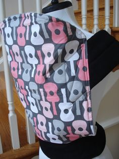 Mei Tai Baby Carrier/Sling- Pink Guitars with gray, pink, or black minky. $30.00, via Etsy.