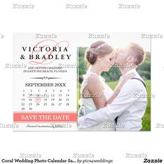 Coral Wedding Photo Calendar Save The Date Cards