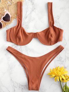 Underwire Balconette Bikini Set – Brown M Swimwear Model, Swimwear Sale, Swimwear Brands, Swimwear Fashion, Bikini Swimwear, Bikini Fashion, Bikini Push Up, High Cut Bikini, The Bikini