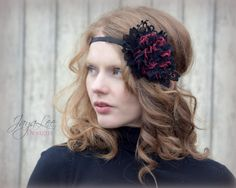 Valentine Headband / Red and Black Rose Lace by GreenTrunkDesigns