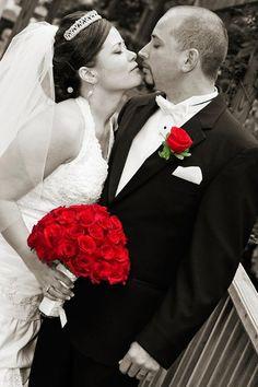 Black Red White Bouquet Centerpieces Floor Half-up Indoor Ceremony Indoor Reception Round Wedding Reception Photos & Pictures - WeddingWire.com
