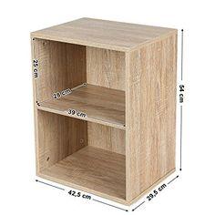 Songmics Petit Meuble de Rangement Etagère de 2 Casiers Bibliothèque Design moderne Couleur bois naturel LBC102H: Amazon.fr: Cuisine & Maison