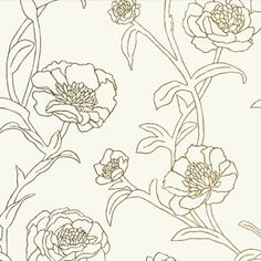 Gold Leaf (PEONIES) tempaper  temp wall paper