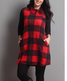 Love this Red Buffalo Check Side-Button Pocket Tunic - Plus by Reborn Collection on #zulily! #zulilyfinds