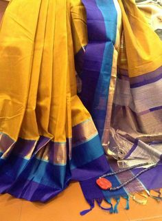 Very similar to a silk saree in my wedding trousseau! Beautiful colour combination