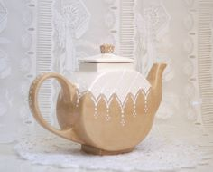 Victorian styled teapot hand painted by Dprintsclayful on Etsy, $59.98