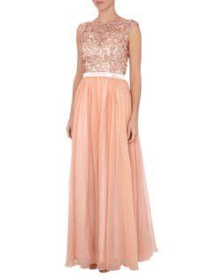 Luxuar Abendkleid mit Paillettenbesatz in Orange - 1
