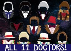Doctor Who Photobooth Prop Printables - Full Pack - All 11 DOCTORS + ACCESSORIES! Download, Print, & Party - Dr Who Photo Booth Paper Props