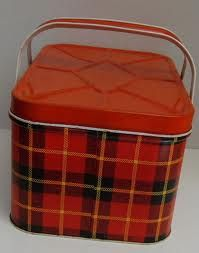 vintage plaid tin...