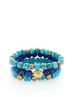 Set Of 3 Gemstone Stretch Bracelets