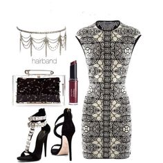 Glamorous printed dress with a silver headband.