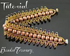Beaded bracelet tutorial seed bead pattern por BeadedTreasury