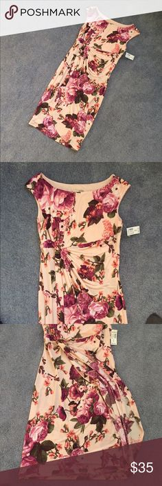 🎉🎉HOST PICK🎉 FLORAL PINK DRESS This brand new, unworn dress is a beautiful pink floral design with gathering under the bust for a perfect fit. The bottom is a wrap dress that stays closed (because under the wrap is closed completely - pix 3). 95% polyester, 5% spandex for a great fit! New with tags. Signature Sadie Dresses Asymmetrical