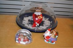 Snowglobe: sprinkle coconut on a container lid or plate, set Elf right in the middle, and place a glass bowl upside down. Cute! #elfontheshelf #holiday