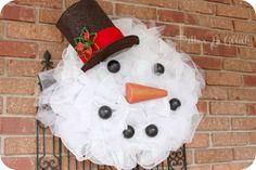 Mesh Snowman Wreath