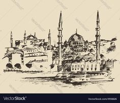 Istanbul Turkey city architecture harbor vintage engraved illustration hand drawn sketch. Download a Free Preview or High Quality Adobe Illustrator Ai, EPS, PDF and High Resolution JPEG versions.