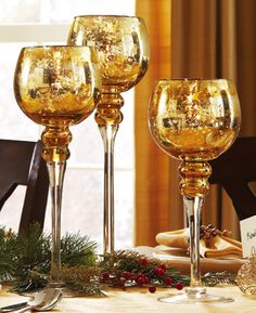Amber Stem With Gold Decoration Glasses