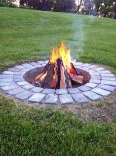 Backyard Fireplace, Cozy Backyard, Fire Pit Backyard, Backyard Landscaping, Backyard Seating, Landscaping Ideas, Diy Fireplace, Patio Ideas, Diy Firepit Ideas