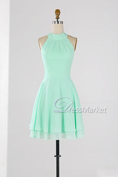 Mint green high collar homecoming dress,Knee length wedding party dress,Simple chiffon bridesmaid dress,short summer dress,DressMarket053