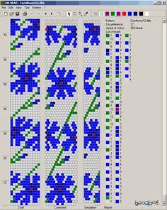 tubular bead crochet rope - http://beadpet.com/images/crochet_ropes_schemes/flowers/Cornflower12.png