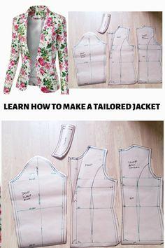Que faire si vous pouvez faire vos propres veste apprendre comment rédiger votre propre veste motif en suivant cette étape-par-étape des illustrations. Dress Sewing Patterns, Sewing Patterns Free, Clothing Patterns, Vogue Patterns, Vintage Patterns, Pattern Drafting Tutorials, Skirt Patterns, Pattern Sewing, Coat Patterns