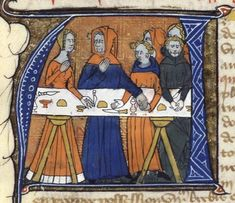 look at the hair of the lady to the left - Feast of Job, Bible historiale (BNF Fr. 164), fourth quarter of the 14th century