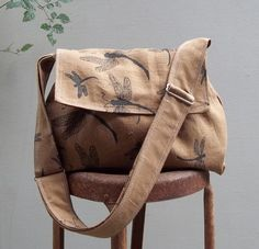 Medium Messenger Bag  Dragonflies  Adjustable Strap  by retrofied, $72.00