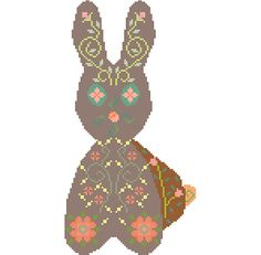 Delicate boho rabbit. Modern cross stitch bunny pattern.