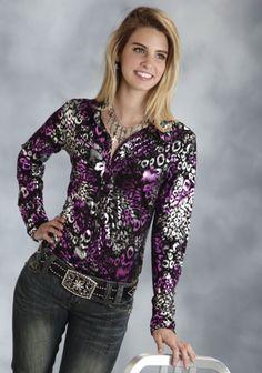 Roper® Women's Black Metallic Leopard Print Snap LS Western Show Shirt