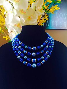 Multi Strand Blue Bead Necklace Vintage Bib Necklace Summer Necklace by FelixVintageMarket