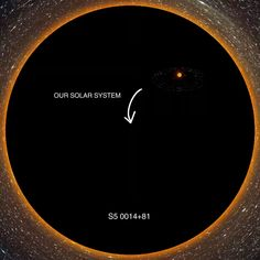 The largest known supermassive black hole compared to our solar system. A high level laser Astronomy Facts, Astronomy Science, Space And Astronomy, Astronomy Pictures, Cosmos, Digital Foto, Amazing Science Facts, Physics And Mathematics, Quantum Physics