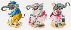 Victorian Die Cut Scraps,   Elephants - Circus.   Makes me happy.
