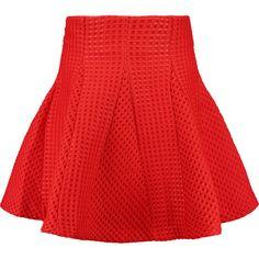 Maje Matelassé mini skirt (335 BRL) ❤ liked on Polyvore featuring skirts, mini skirts, crimson, flared mini skirt, red flare skirt, red flared skirt, mini flare skirt and flare skirts