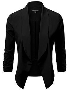 SALE PRICE - $13 - JJ Perfection Women's Lightweight Thin Chiffon Ruched Sleeve Open-Front Blazer