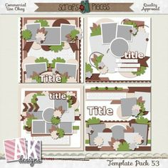 Template Pack 53 includes 4 (12x12) templates that can be easily sized to 8x8 if you would like. My templates are PU/S4H/S4O/CU friendly. My templates are also allowed for your CT projects. My TOU can be found HERE. This pack includes PSD, PNG and TIFF, Page and SBpage formats. Shadows are for preview purpose only.