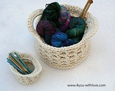 This is a basket that is crocheted using two strands of yarn at one time. It is a quick project and you need to crochet as tightly as you can to create a nice, firm basket.