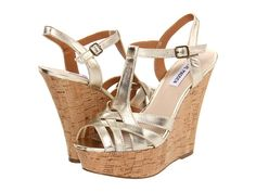 Steve Madden gold wedges for a night out