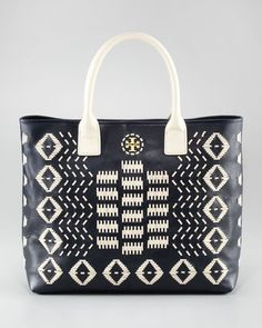 ShopStyle: Tory Burch Claire Stitched Leather Tote