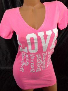 Victoria's Secret PINK XS Neon Animal Print Leopard V Neck Graphic T Shirt Rare