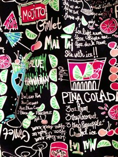 """Lilly Pulitzer """"The drinks on me """" Lilly Pulitzer Prints, Lily Pulitzer, Kitchen Prints, Backrounds, Wallpaper Pictures, Food Illustrations, Beautiful Patterns, Pattern Wallpaper, Pink And Green"""