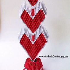 3d Origami Triple Hearts Topiary With Paper Rosettes