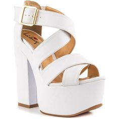 Luichiny Women's Van Buren - White (385 MYR) ❤ liked on Polyvore featuring shoes, strap, high heel shoes, monk-strap shoes, luichiny, retro style shoes and luichiny shoes