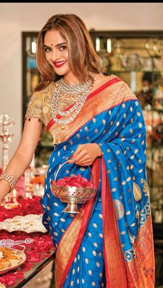 Blue Soft Silk Saree Beautiful Offset By Red and Gold Border Latest Silk Sarees, Soft Silk Sarees, Cotton Saree, Bollywood Saree, Bollywood Fashion, Indian Attire, Indian Outfits, Indian Wear, Arab Fashion