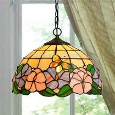 ... Stained Glass Lampshade Vintage Luminaria Home Hanging Lightings 30cm
