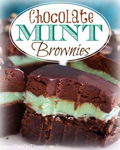 Chocolate Mint Brownies Recipe | MomOnTimeout.com - Decadent Ganache, Mint Filling, and a moist, rich brownie base.  The perfect way to add ...