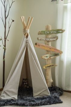 Tipi or tipi made of cream-colored fabric and wooden poles on fluffy gray . - Baby room - Tipi or tipi made of cream-colored fabric and wooden poles on fluffy gray … – Baby room - Baby Boy Rooms, Baby Boy Nurseries, Kid Rooms, Boy Nursey, Rustic Baby Nurseries, Room Baby, Child Room, Shared Rooms, Nursery Room