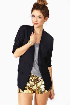navy blazer + gray tank + gold sequin shorts