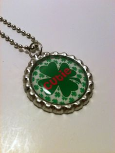 Cutie Shamrock bottle cap necklace by LillypadPark on Etsy, $4.95