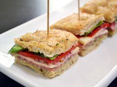 Italian Salami Sandwiches - focaccia bread, hard salami, provolone cheese, spinach, tomato, and pesto (or artichoke spread)